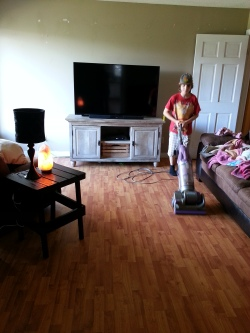 My son knows I like to vacuum and steam mop the floors each day, I'm swamped so he's taking over and making momma proud! :)